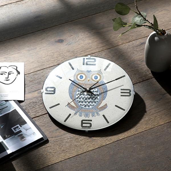 [HC]컨벡스라운드 부엉이 29cm 무소음벽시계